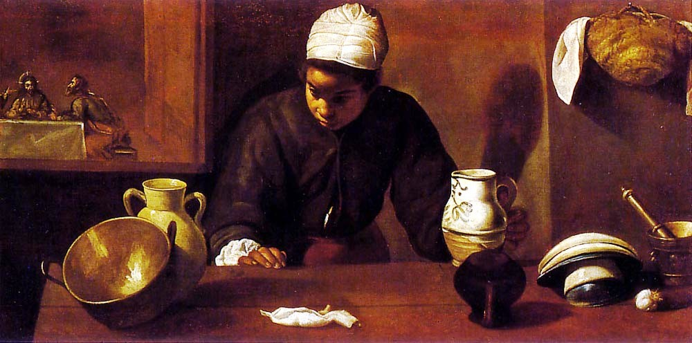 Kitchen Maid with the supper at Emaus by Diego Velázquez (1599-1660)